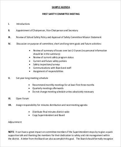 agenda for first safety committee meeting