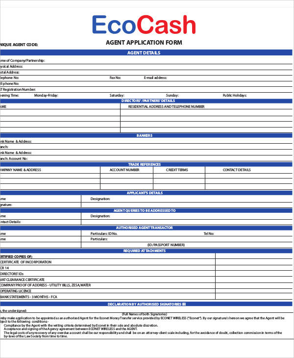 agent banking application form