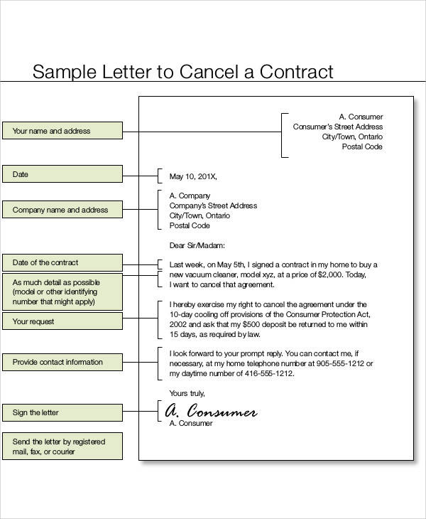 agreement contract termination letter