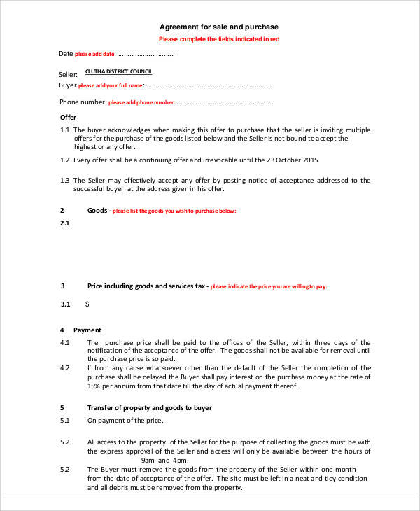 agreement of sale form