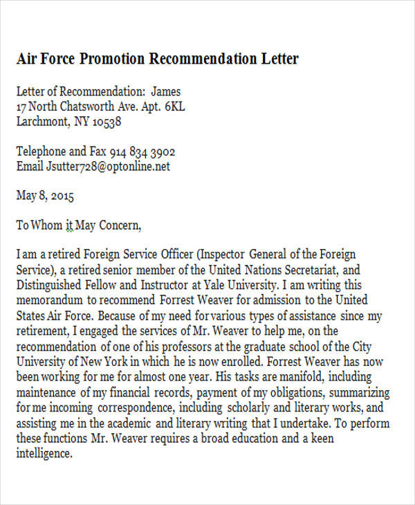 Air Force Promotion Recommendation Letter  Example Of Recommendation Letter