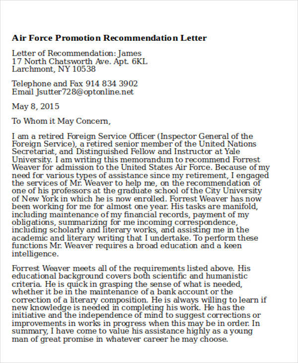 Sample Air Force Recommendation Letter  Free Sample Example