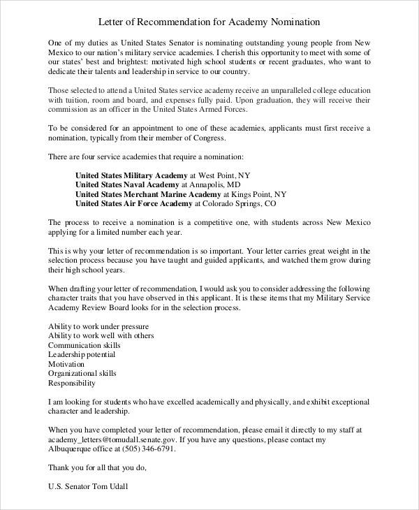 6+ Sample Air Force Recommendation Letter - Free Sample, Example