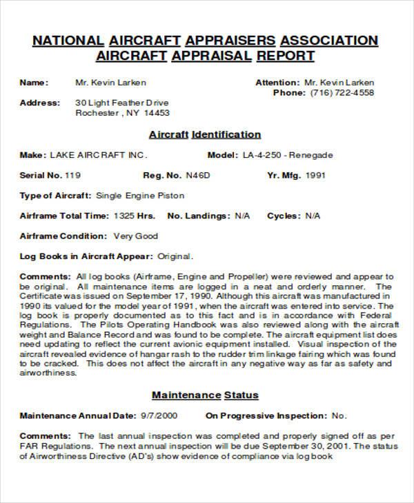 aircraft association appraisal format