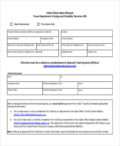 airline reservation request form