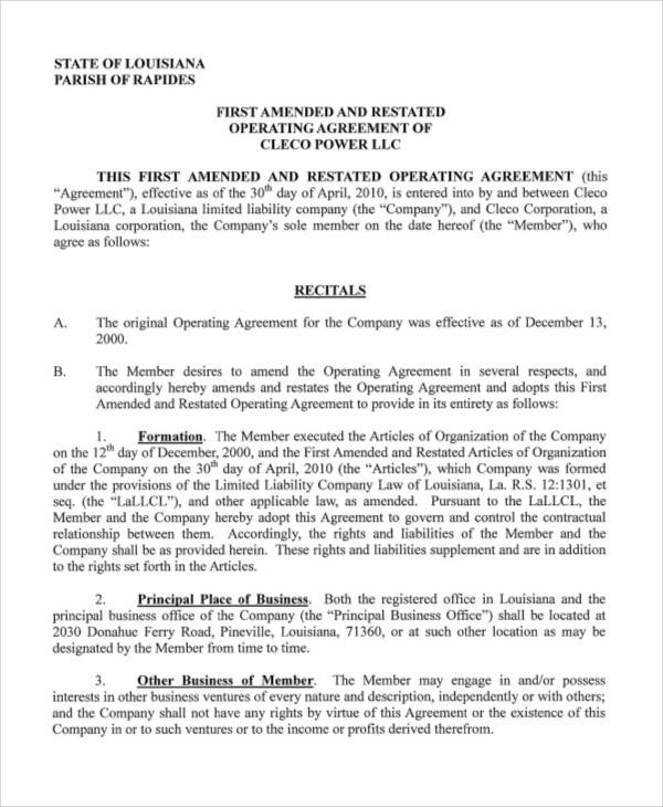 amended and restated operating agreement