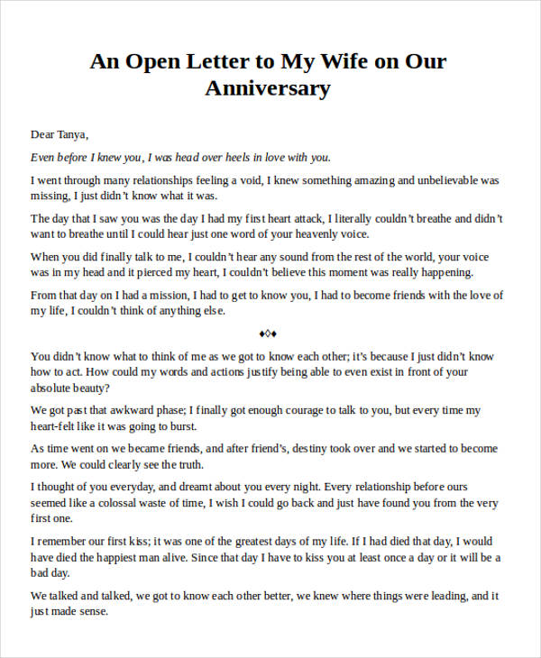 Anniversary Love Letter To My Wife