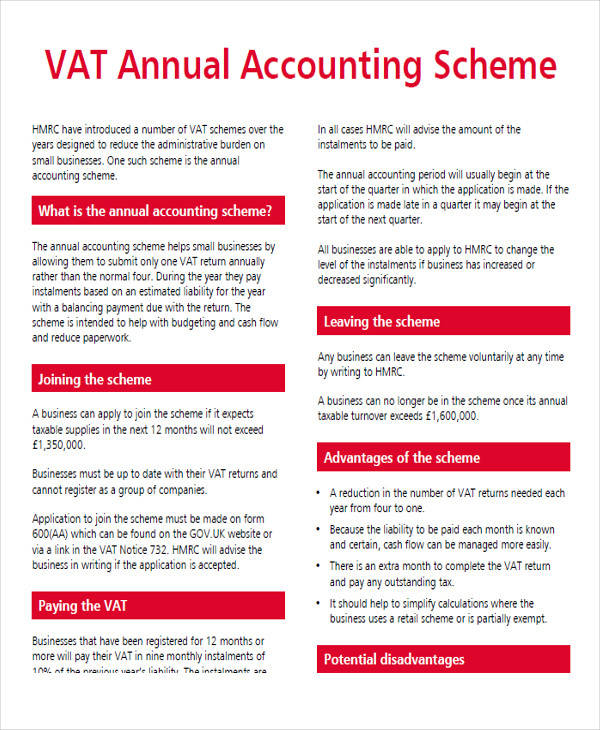 annual accounting scheme form