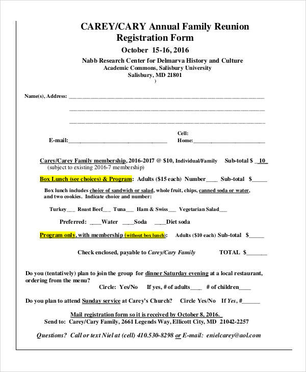 annual family reunion registration form
