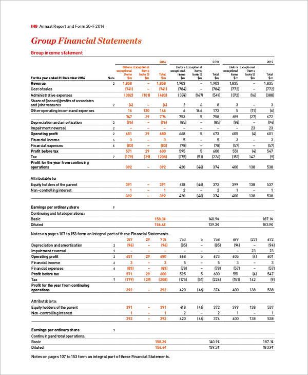 annual income statement form