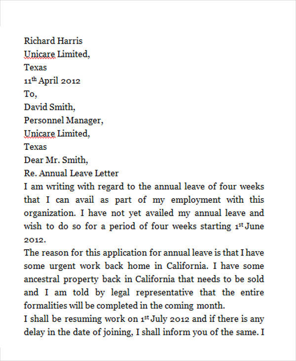 42 leave letter samples pdf word apple pages sample templates annual leave request letter spiritdancerdesigns Images