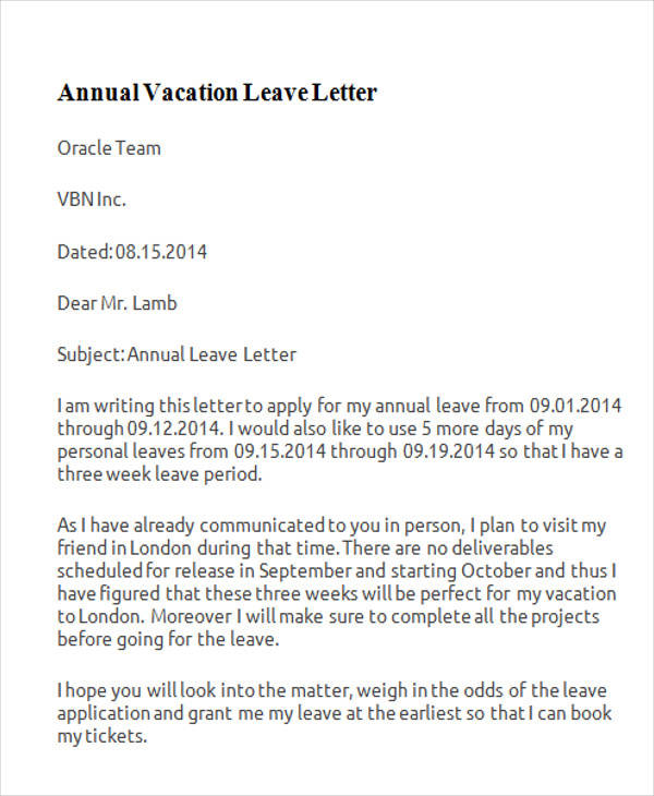 school leave application letter for vacation Sample letter to school informing about child's absence for being out of station my son, abc, a student of class ii 'b' of your school, require leave for a period of 10 days with effect from 23rd feb'14 that is tomorrow onwards.
