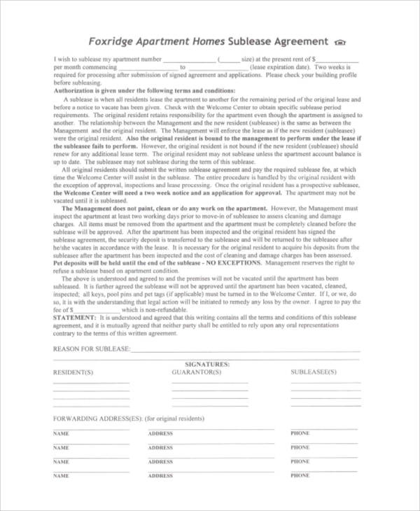 apartment homes sublease agreement form