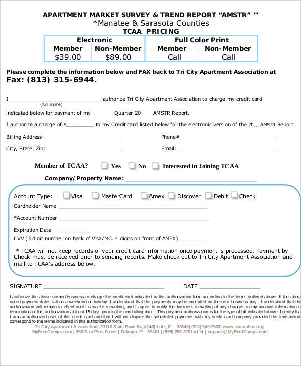 apartment market survey form