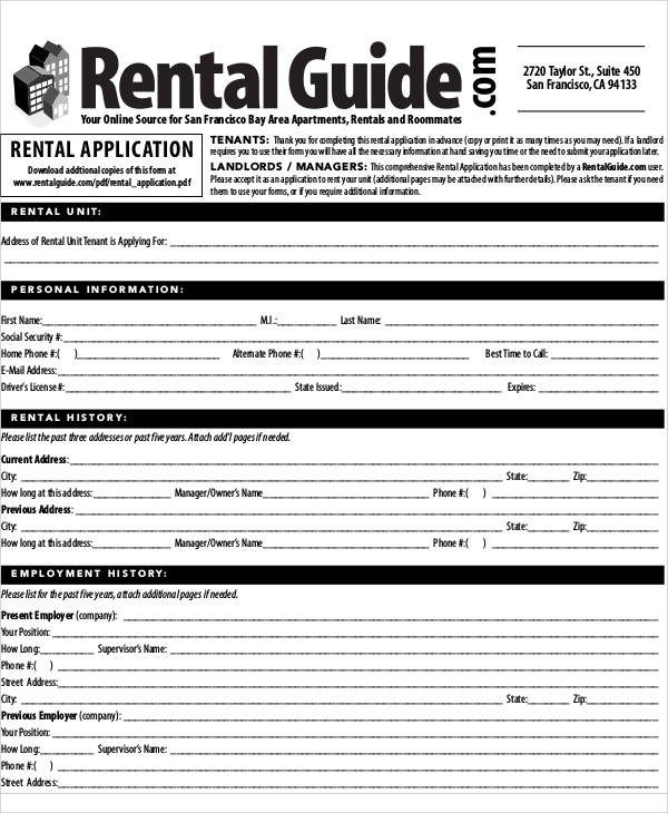 Application Form Samples – Apartment Application Form