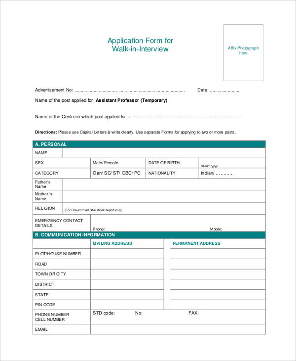 application form for walk in interview