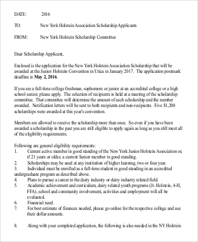 application letter for scholarship committee