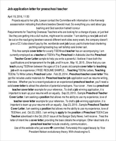 application letter for teacher job1