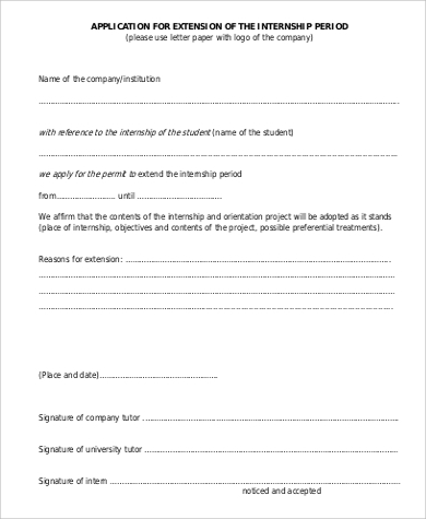 application for extension of the internship letter
