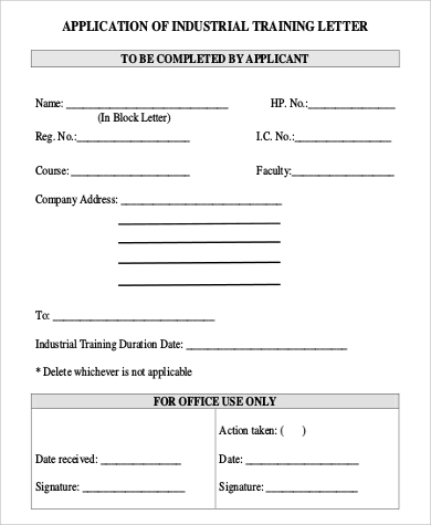application of industrial training letter