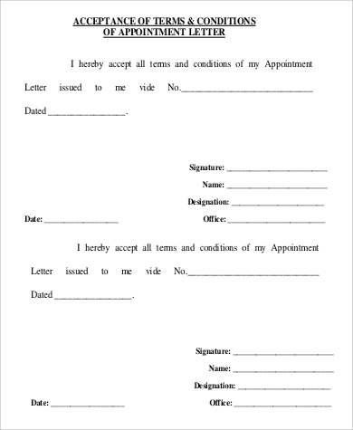 appointment acceptance letter format