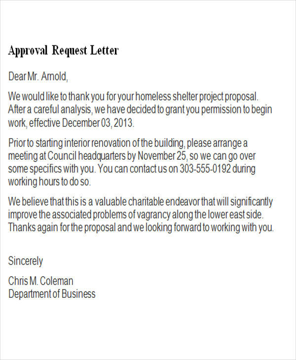 Request letter for approval of proposal