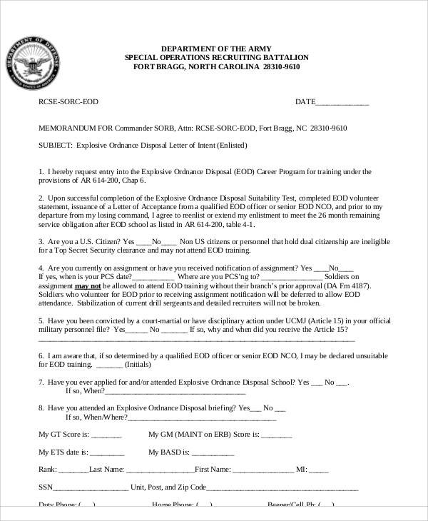 Army Letter Of Intent Format