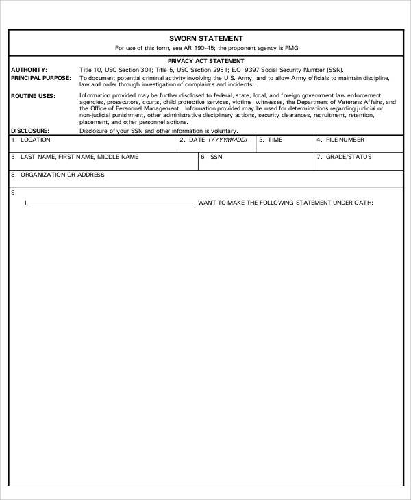 army sworn statement form2