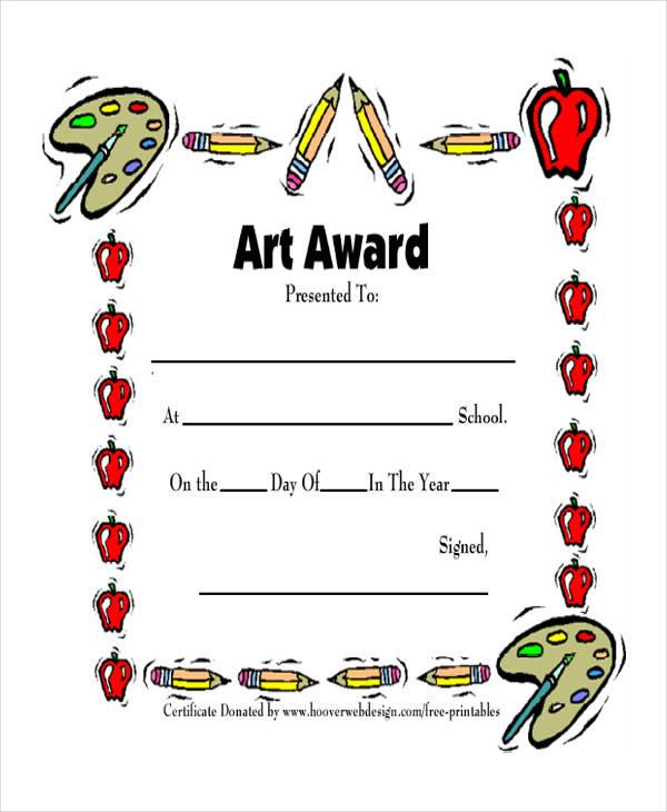 art award certificate