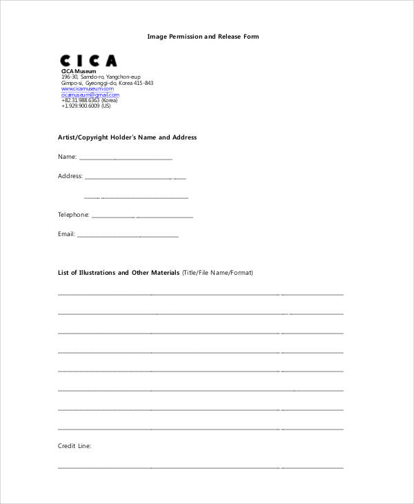 artist copyright release form
