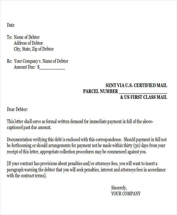 attorney collection demand letter