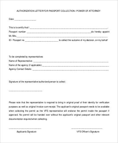 attorney passport authorization letter
