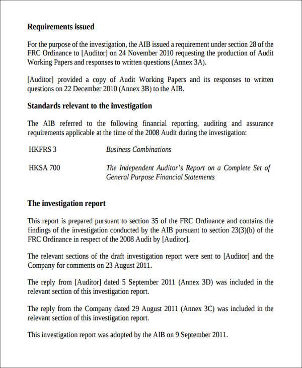 audit investigation report sample1