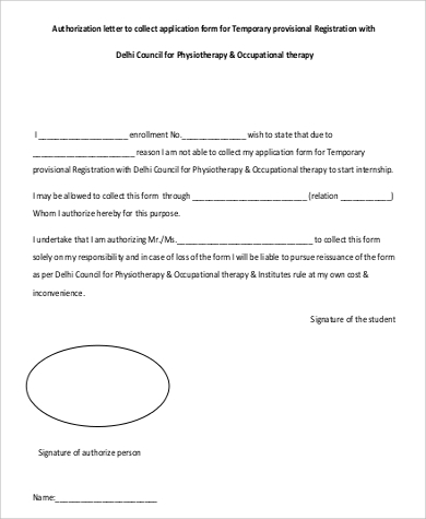 authorization letter to collect application form