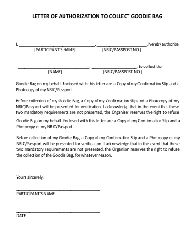 authorization letter to collect example