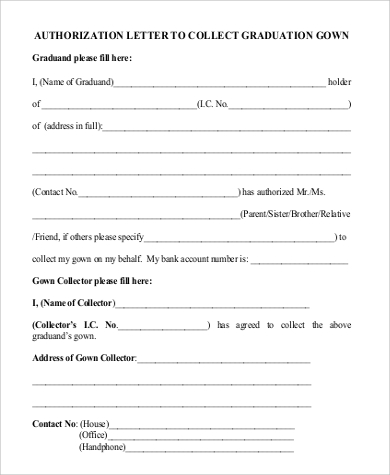 authorization letter to collect graduation