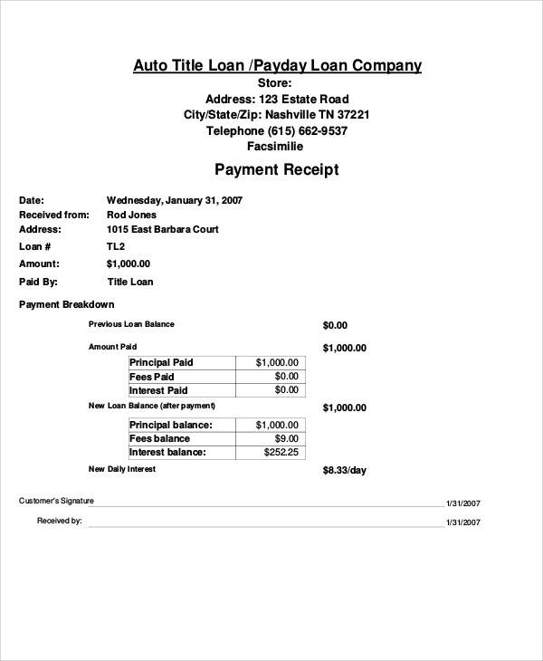 Car Payment Receipt Throughout Loan Payment Receipt Template
