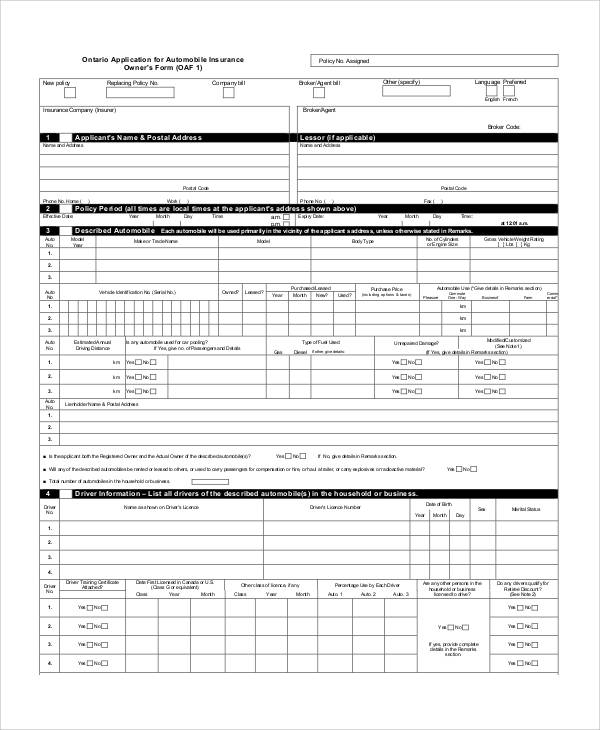 automobile insurance application form