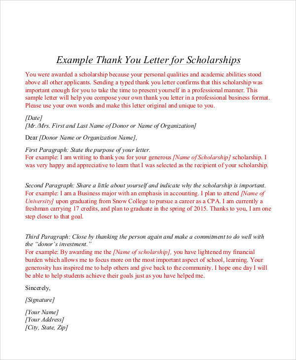 Sample Award Thank You Letter  Free Sample Example Format