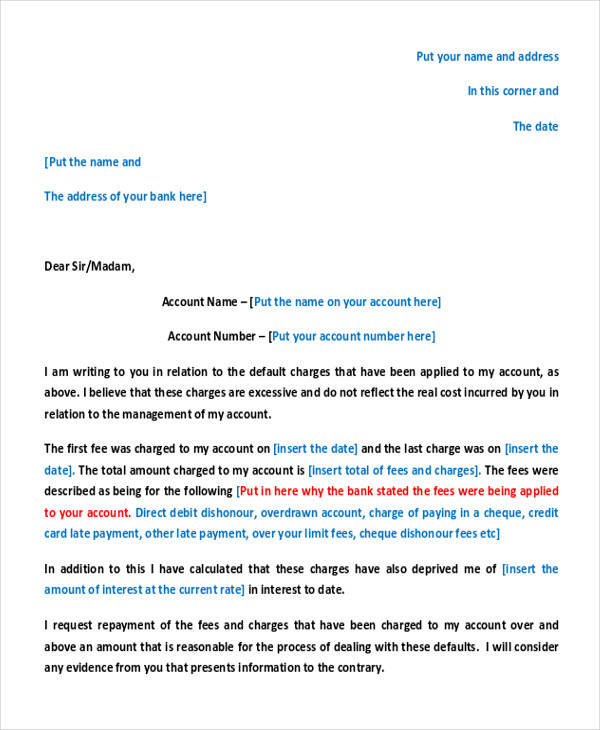 letter about bank charges 36 complaint letter examples sample templates 9891