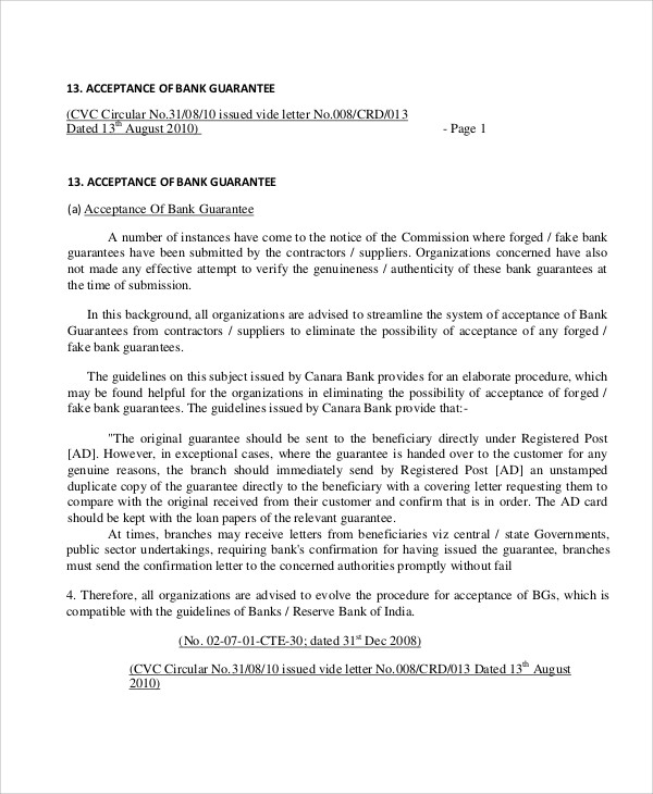 bank guarantee confirmation letter