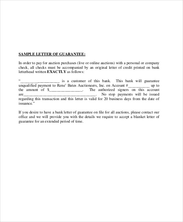 54 Guarantee Letter Samples Pdf Doc