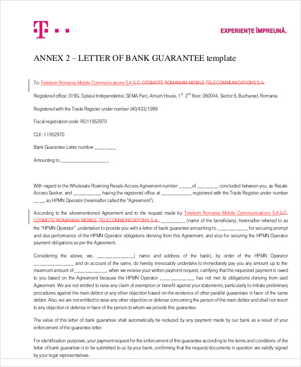 bank guarantee letter for loan