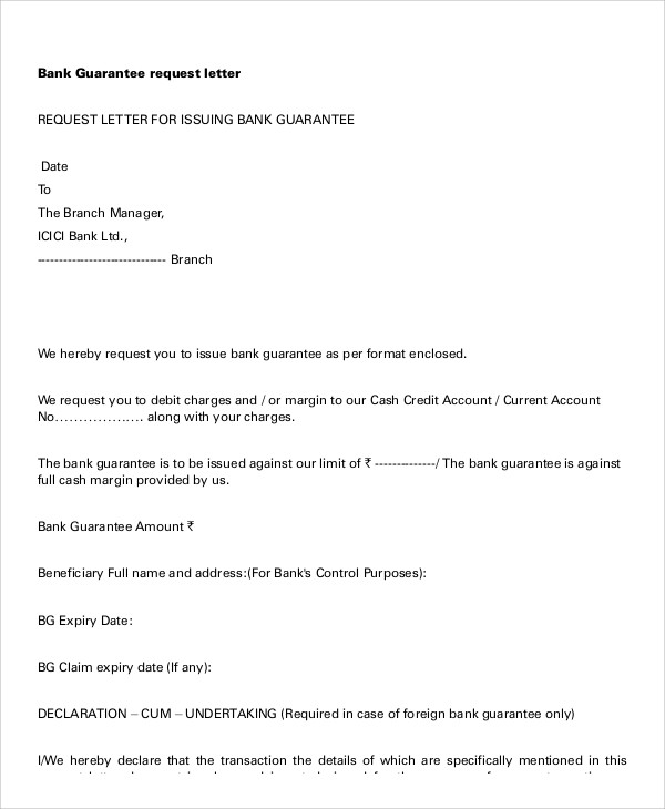 bank guarantee request letter