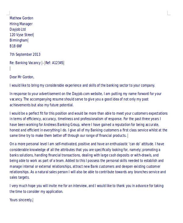 bank job application letter