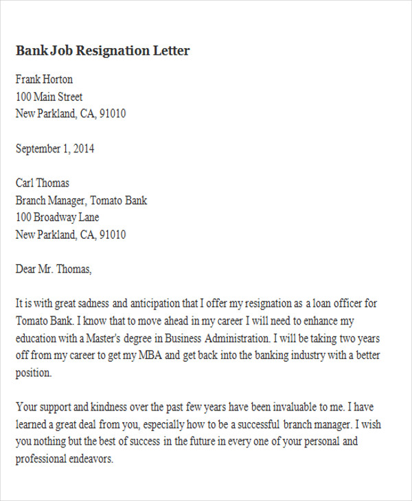 65 sample resignation letters sample templates bank job resignation spiritdancerdesigns