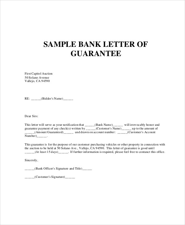 bank payment guarantee letter