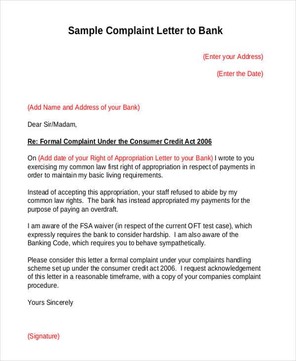 bank service complaint letter