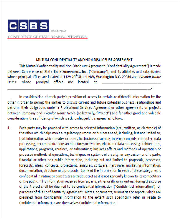 bank vendor confidentiality agreement