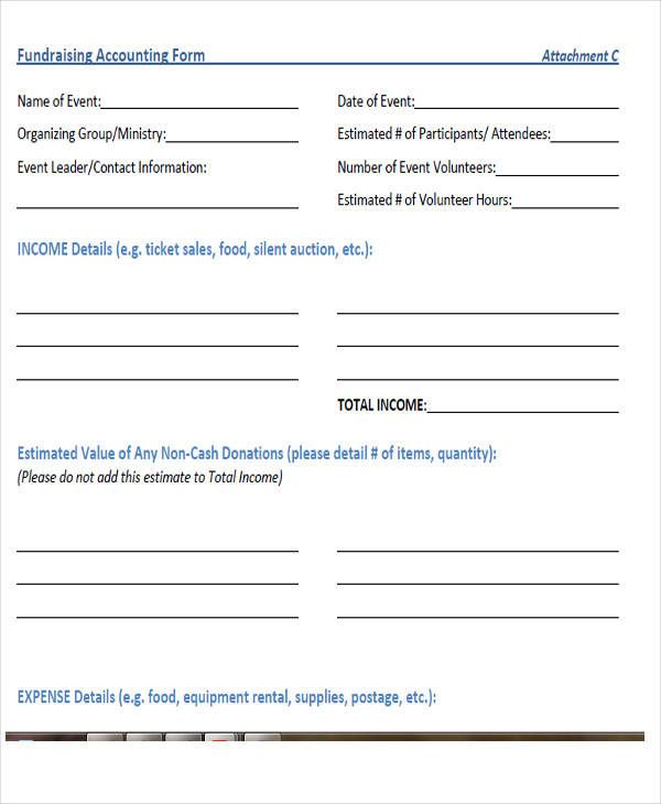 basic fundraiser accounting form